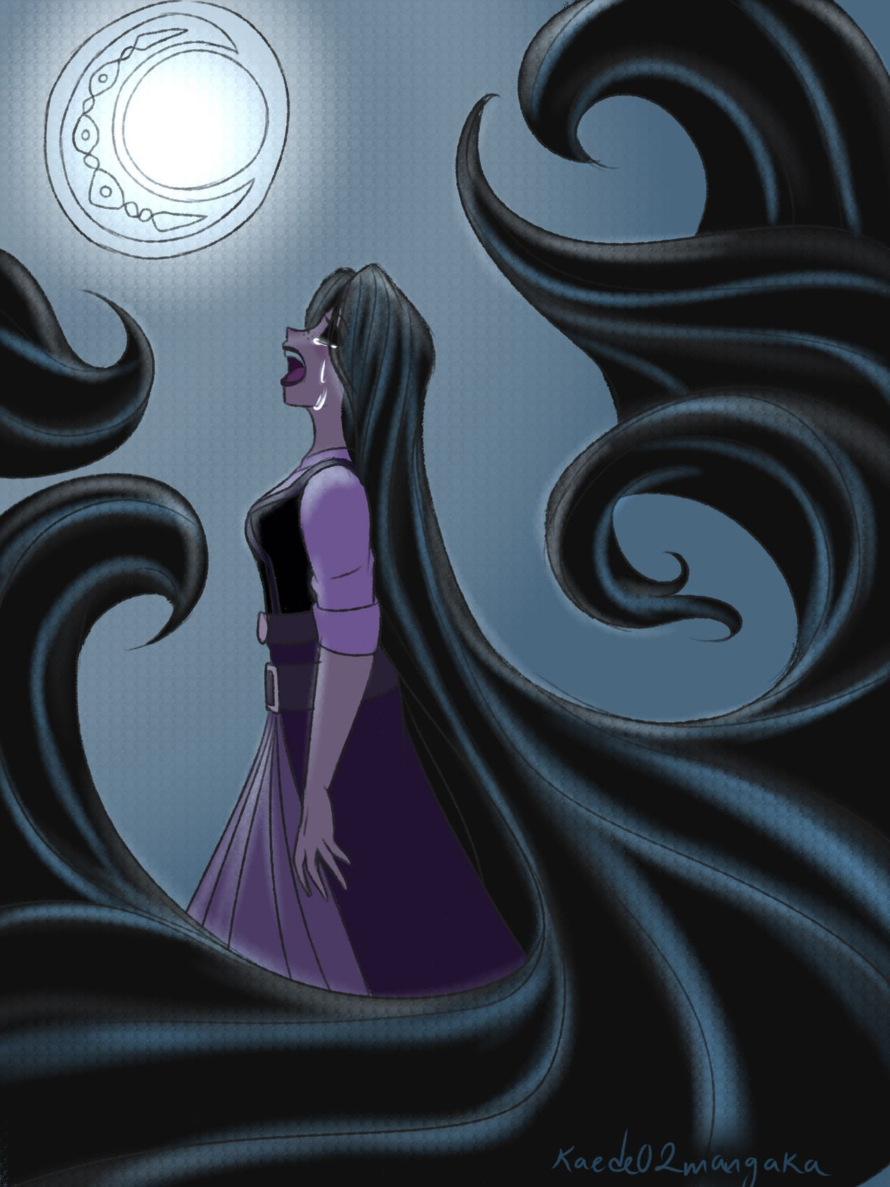 Moon Rapunzel I Can T Believe This I Hope His Black Hair With A Blue Streak Means Something The Song Was Absolutely Good And Disney Art Disney Fan Art Disney