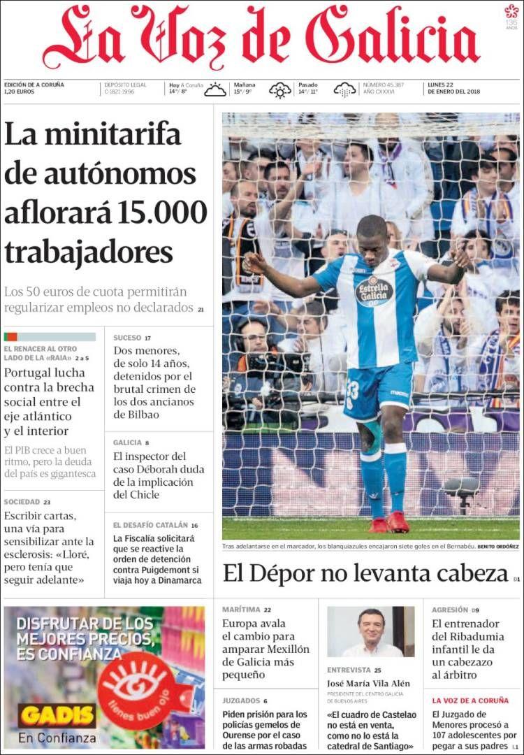 Portada De La Voz De Galicia España Periodico La Voz La Voz España