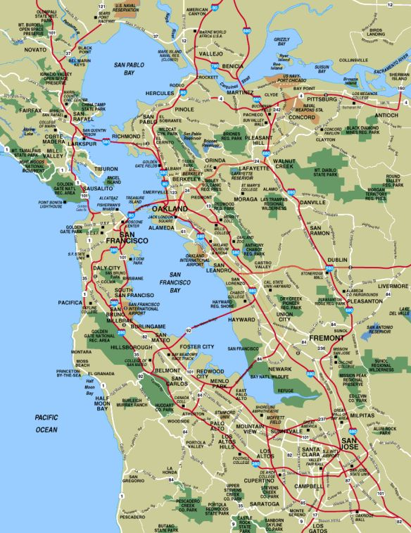 Map Of California Bay Area.San Francisco Bay Area Places To Visit San Francisco Map