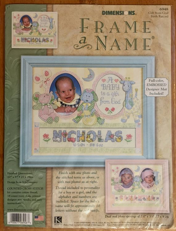 Baby Birth Record Kit Dimensions Frame A Name Counted Cross Stitch