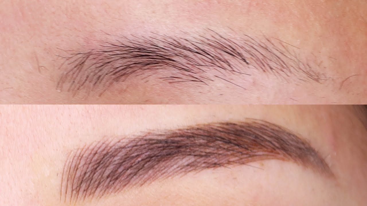 Before after eyebrow microblading feathering tattoo