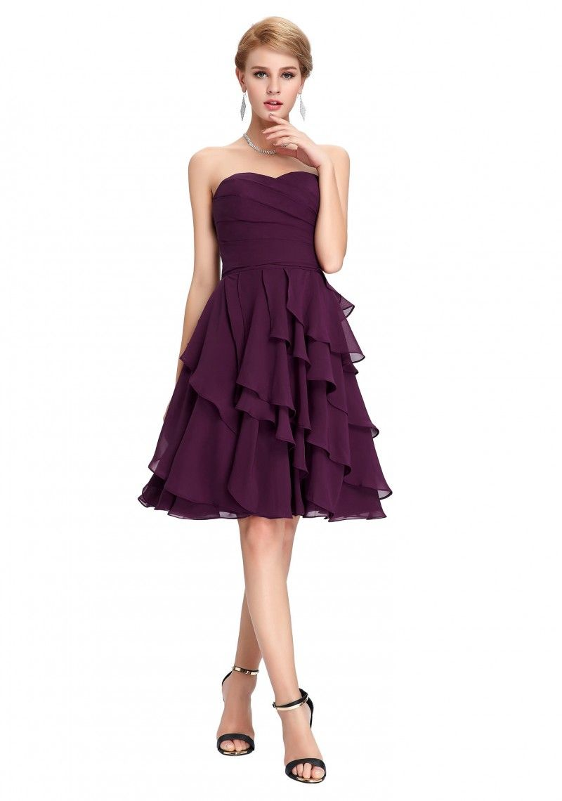 Schulter- und rückenfreies Abendkleid in Lila | Brautjungfernkleider ...