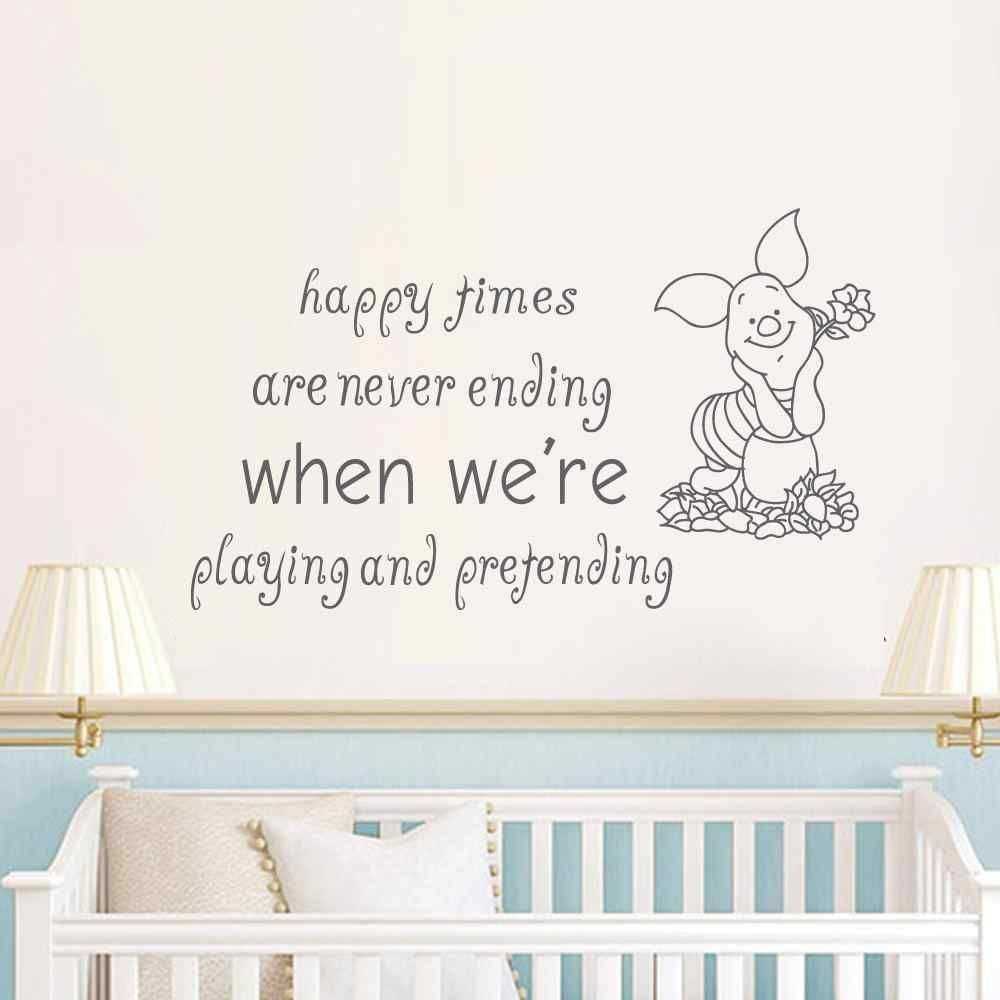 Pig wall decal quote happy times are never ending birthday gifts