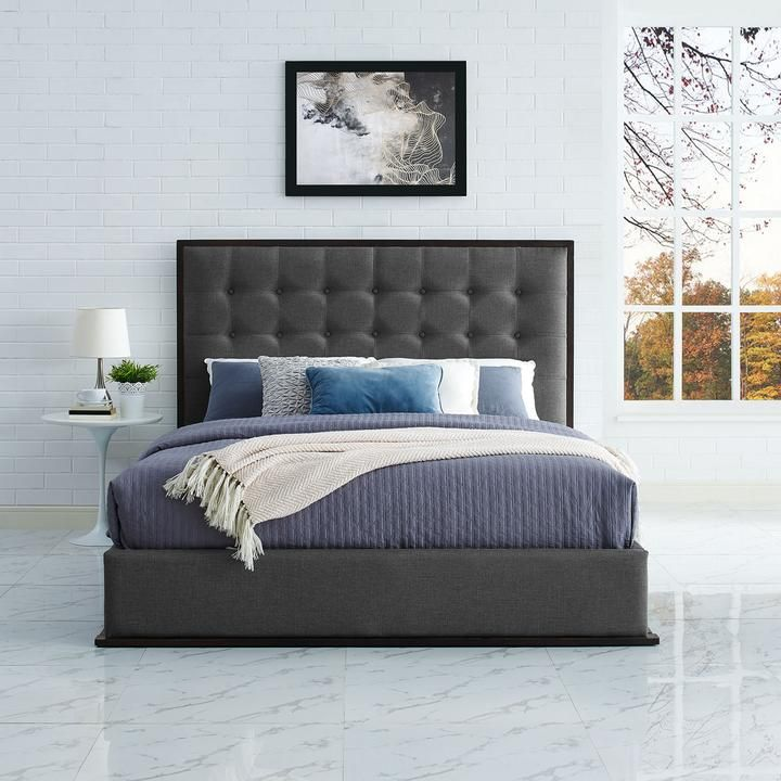 Madeline Queen Upholstered Bed Frame In Cappuccino Smoke Fabric