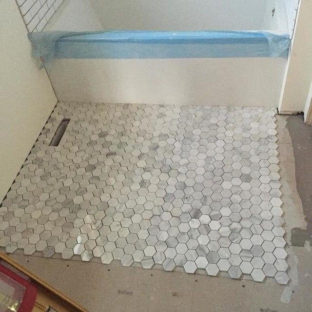 ... Hex Tiles For Bathroom Floors For Top Hex Tile In Guest Bathroom With Carrara  Tile I ...