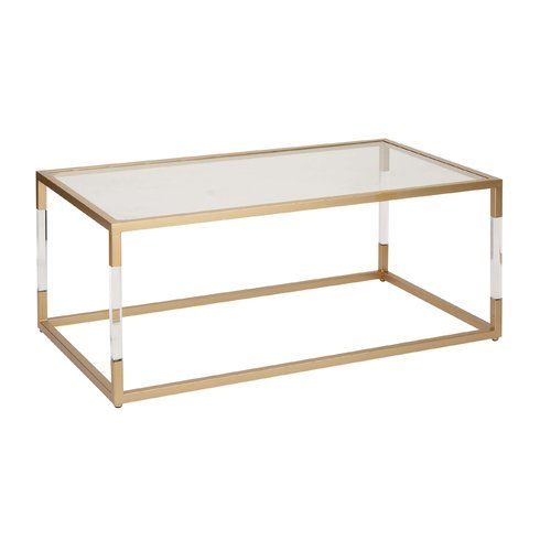 Metal And Glass Acrylic Coffee Table Gold Coffee Table Acrylic