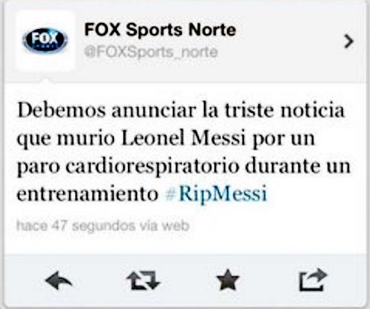 Fox Sports da por muerto a Messi