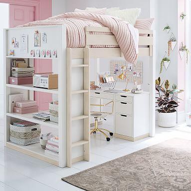 Rhys Loft Bed With Desk Set Girls Loft Bed Loft Beds For Teens Kids Loft Beds