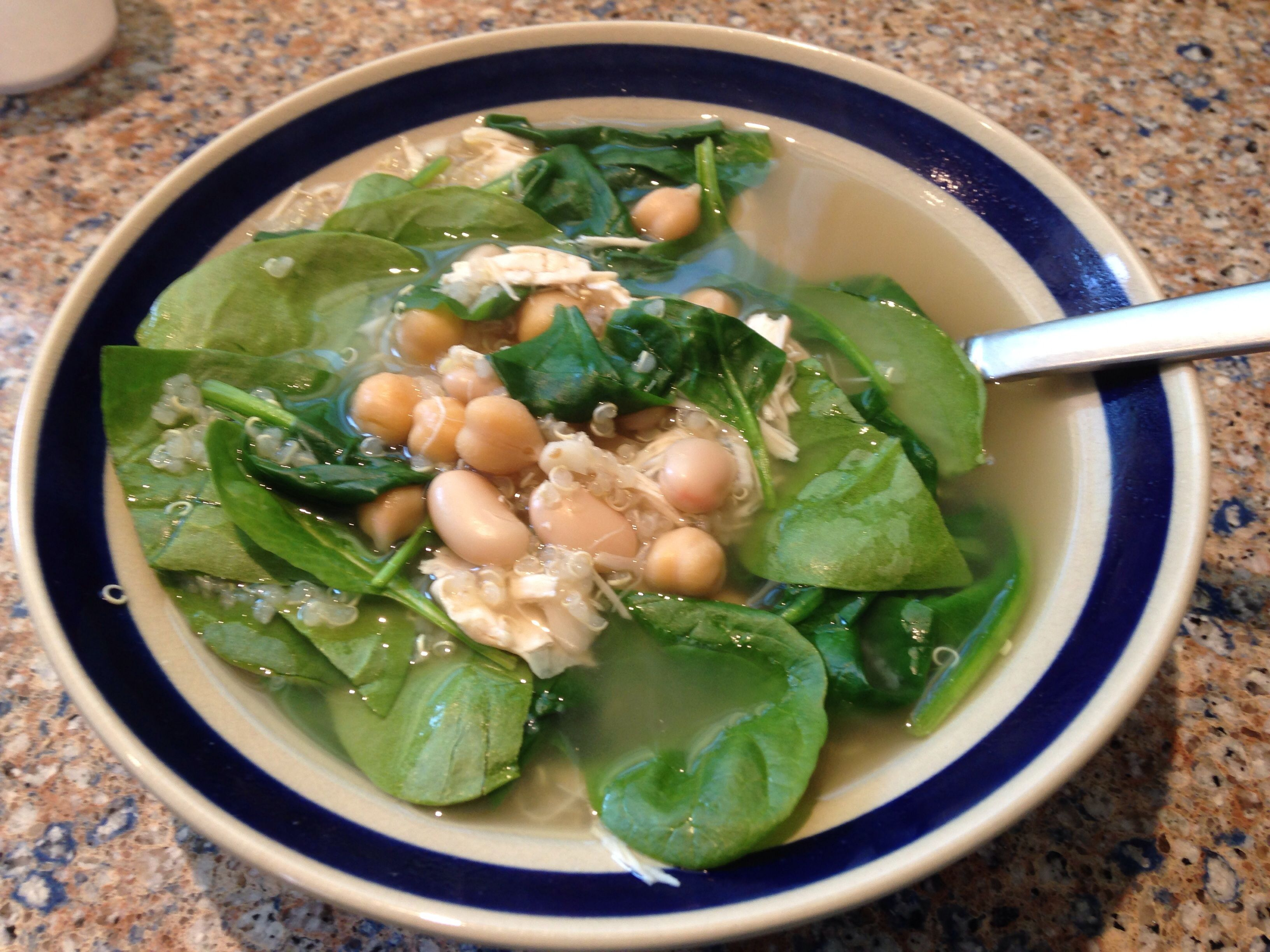 Simple Bean, Spinach, and Chicken Soup.  This is a great go-to Fall dinner!  It takes about 5 minutes to prep, and is healthy and filling.  For more healthy recipes follow me on Pinterest and subscribe to my blog at www.GreatFoodLifestyle.com.