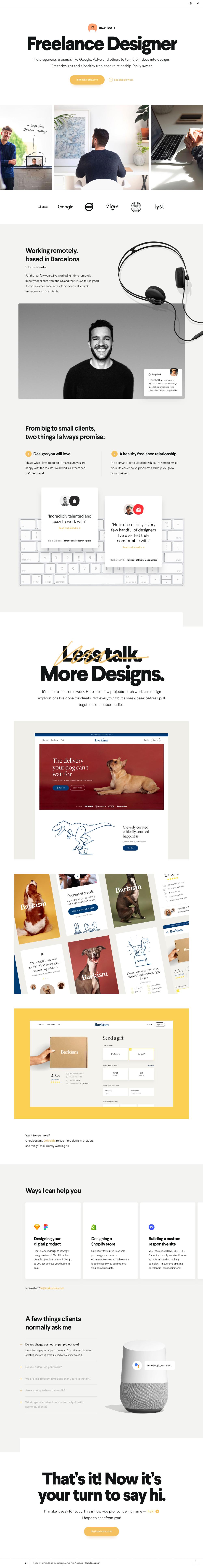 Wonderful One Page portfolio for designer Iñaki Soria featuring