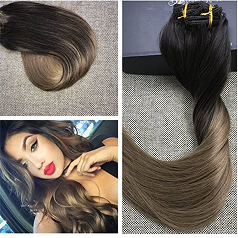 58.69$  Watch here - http://alicf6.worldwells.pw/go.php?t=1000001257868 - Full Shine Premium Remy Ombre Clip in Hair Extensions Balayage Cheap Clip in Extensions Color #2#8 Dip Dye Straight Extensions 58.69$