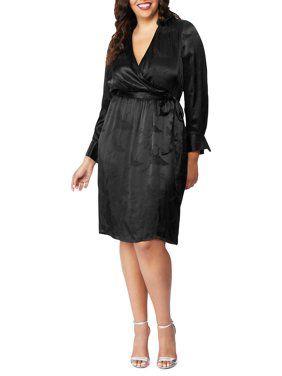 Plus Jacquard Faux Wrap Dress   Wrap dress, Wrap dress ...