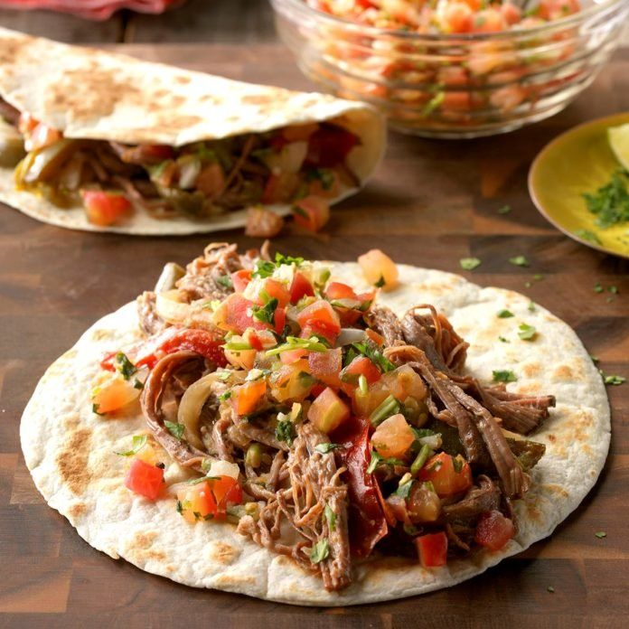 Slow-Cooker Flank Steak Fajitas #recipesforflanksteak