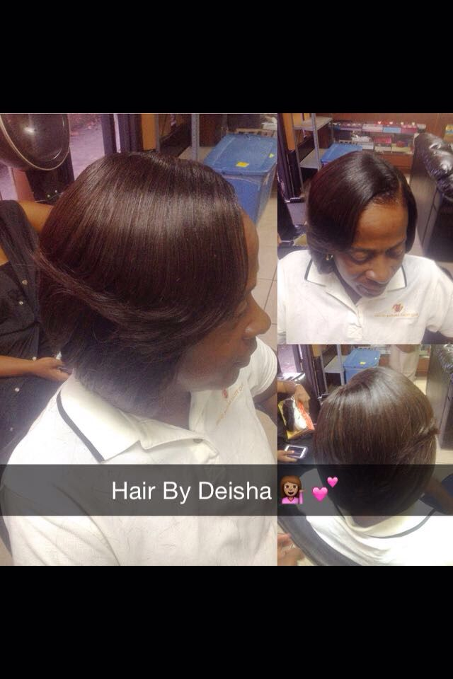 Sew in bob with side bang