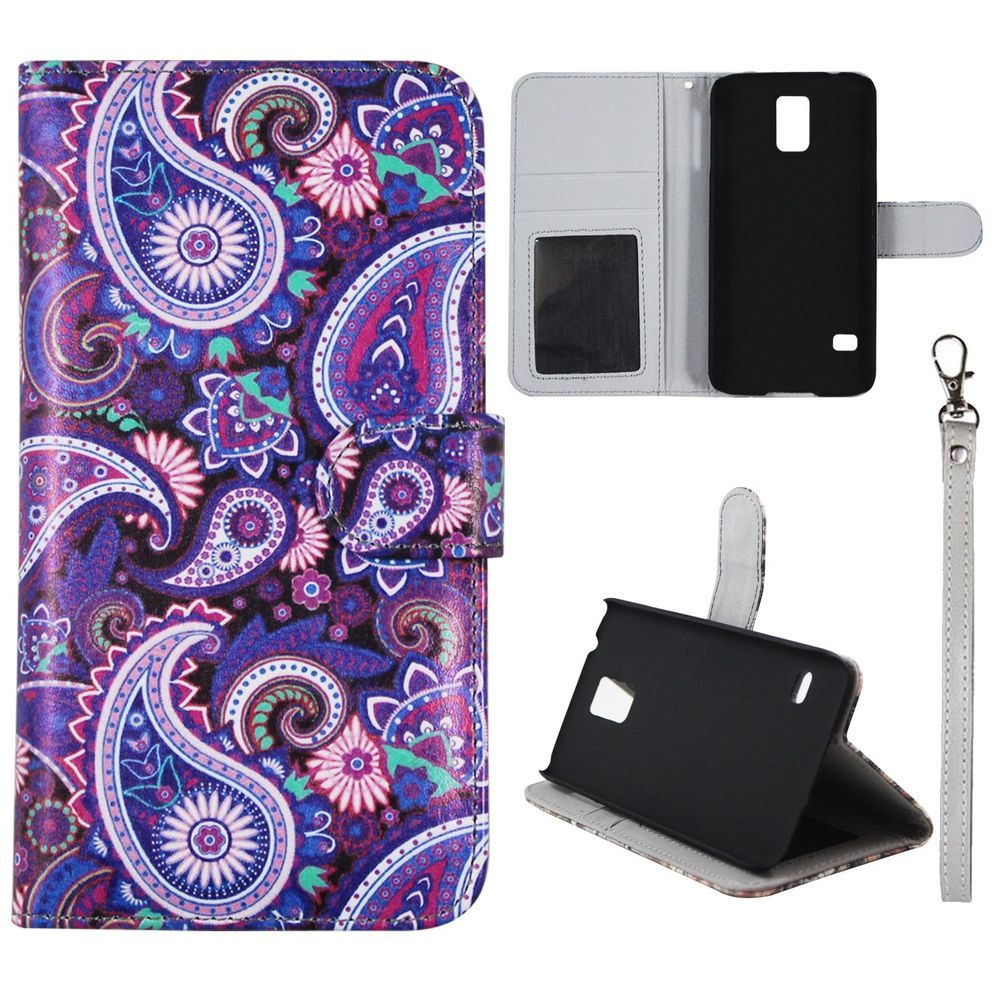 official photos 48b13 0d28f Wallet PurPaisley For Samsung Galaxy S5 i9600 S5 Neo Leather Case ...