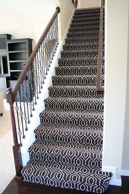More Modern Style Of Runner: Geometric Stair Carpet: Chocolate Tessio Carpet