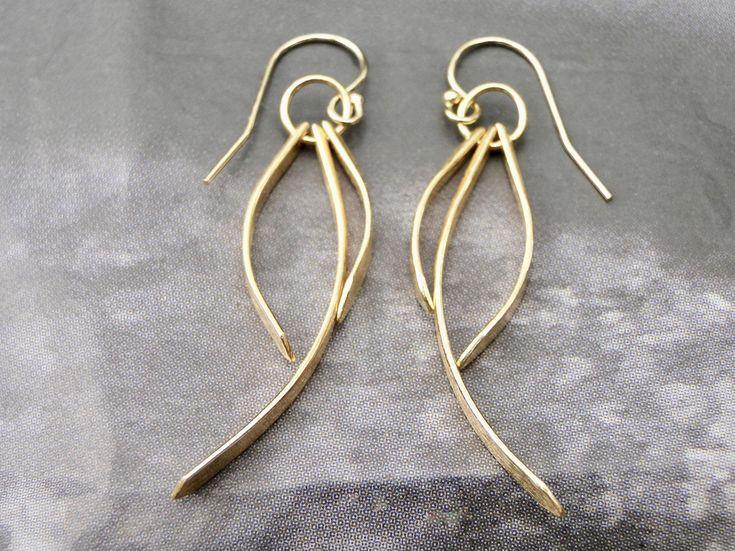 Earrings SALE Gold Bar Bohemian Earrings 24k Gold Vermeil Earrings 925 Sterling …