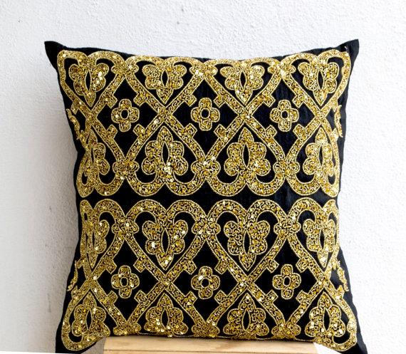 Decorative Throw Pillow Black Silk Gold Sequin Throw Pillows