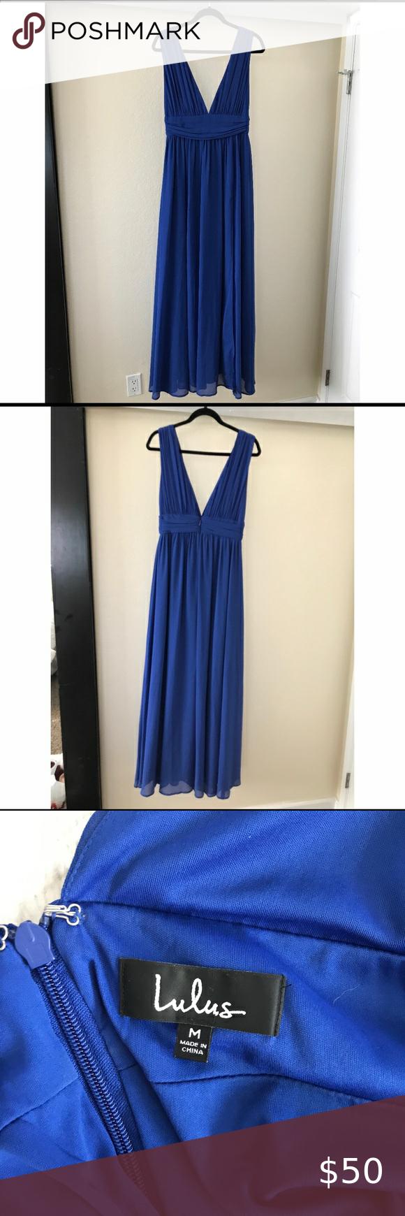 Photo of Lulu's Blue Maxi Dress Lulu's dark blue dress size medium – worn once for an…