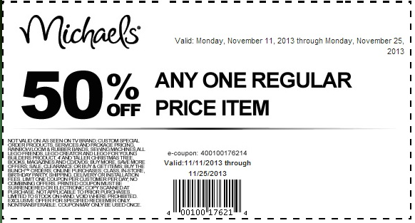 Michaels Printable Coupons 50 Off Coupon 51 Sales In November Michaels Coupon Coupons Printable Coupons