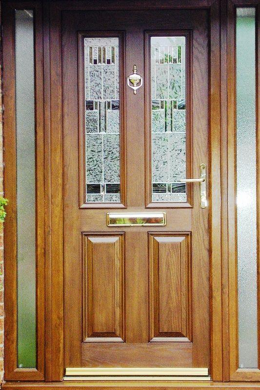 Beautiful Contemporary Golden Oak Composite Door With Matching Golden Oak Frame Work Complete with Golden Fixtures & Beautiful Contemporary Golden Oak Composite Door With Matching ...