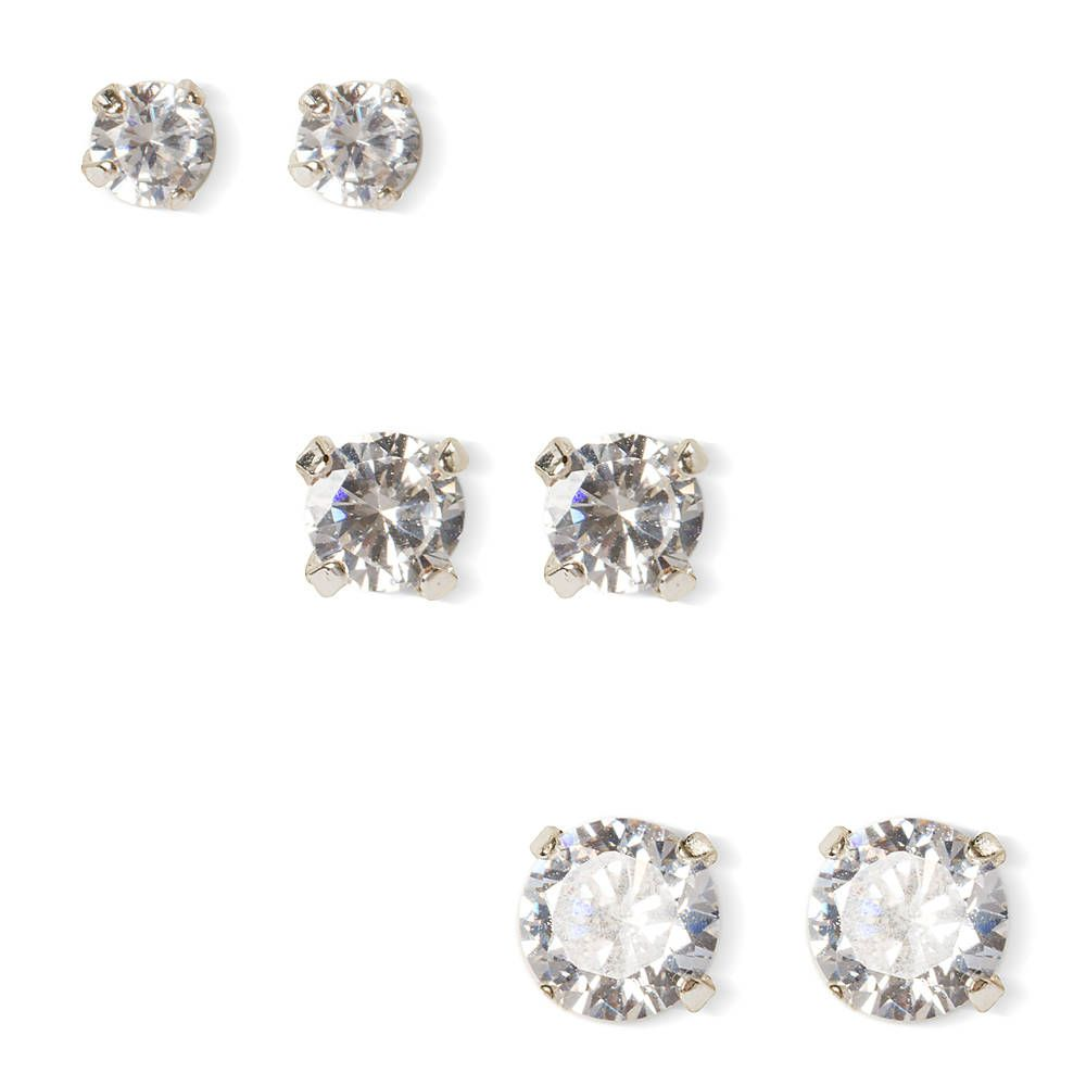6MM, 7MM and 8MM Round Cubic Zirconia Martini Set Stud Earrings Set of 3