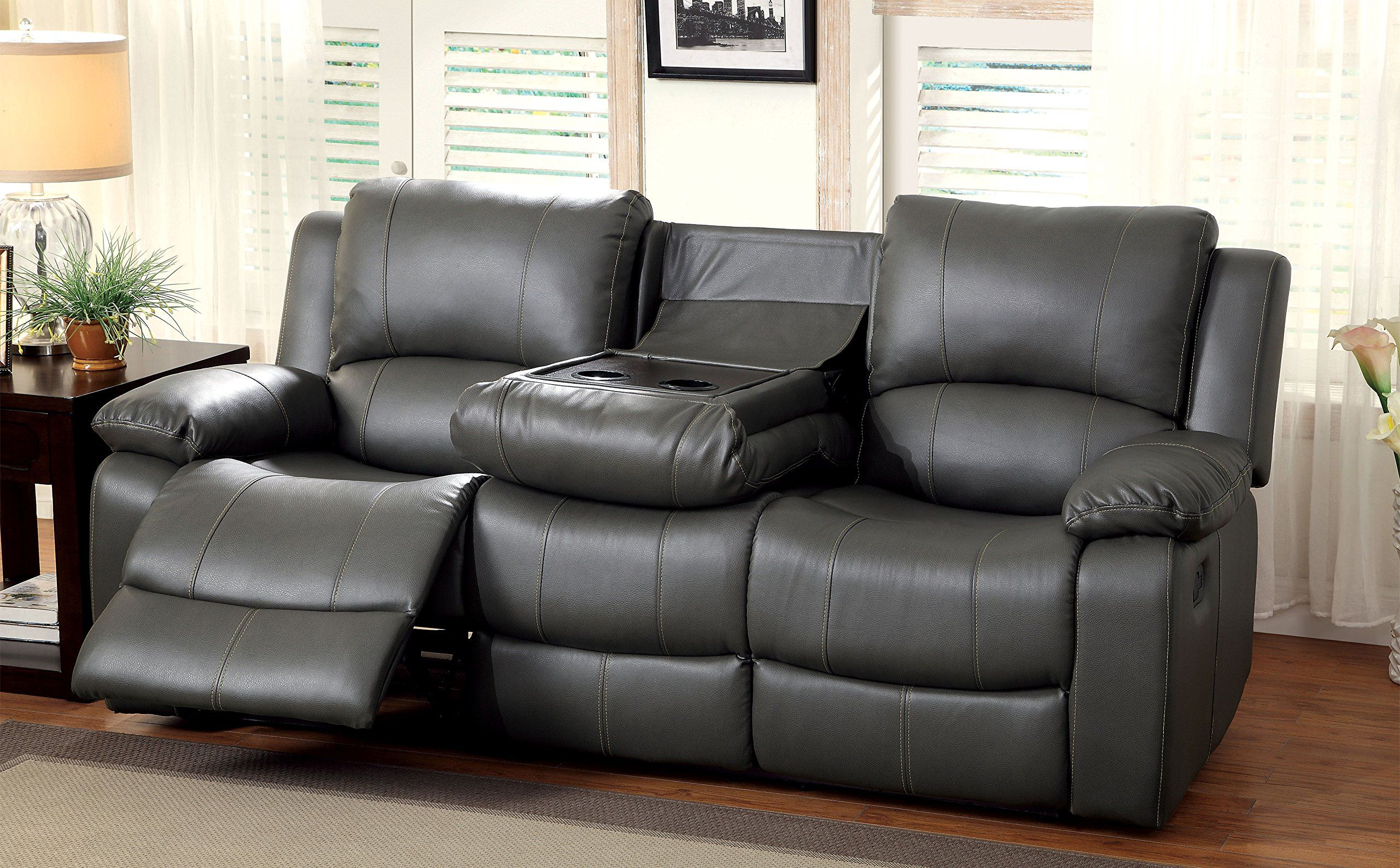 Furniture Of America Robyn 2 Recliner Sofa Contemporary Style