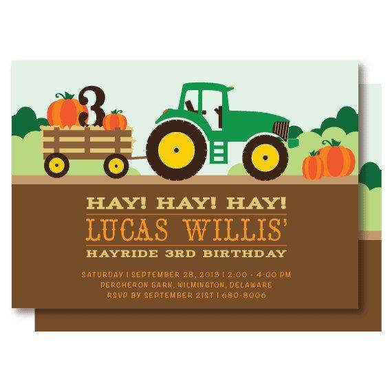 Tractor Hayride Birthday Invitations