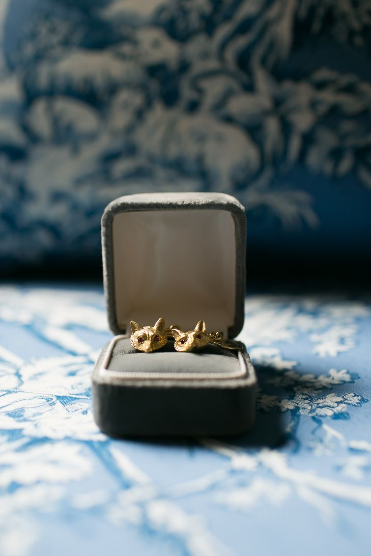 Grooms gold foxinspired cuff links jacqueline patton