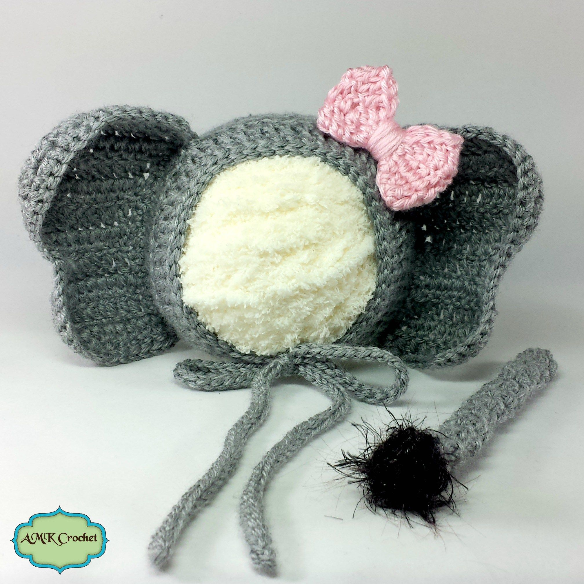 Newborn Crochet Elephant Bonnet Hat and Unattached Tail Photo Prop ...