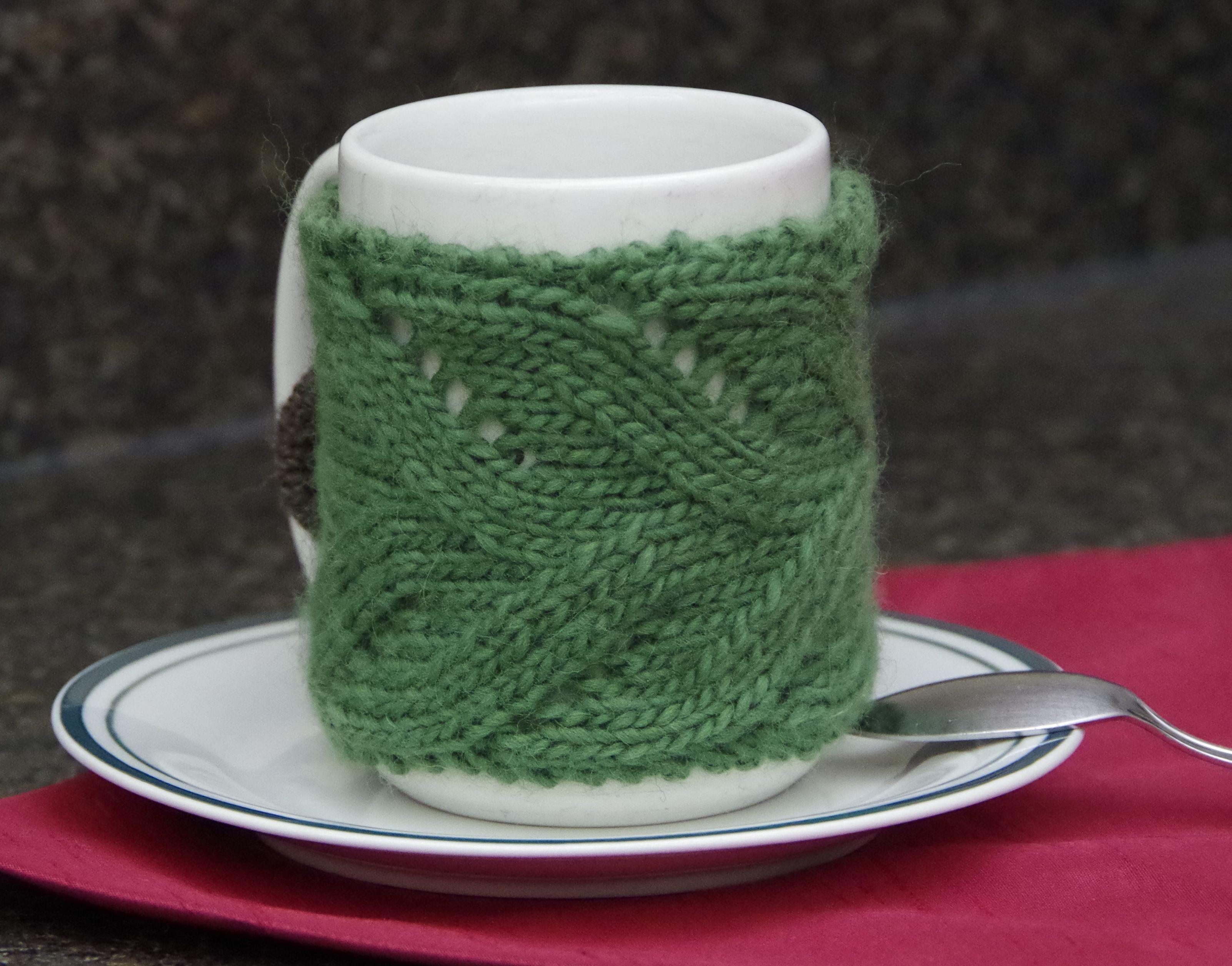 Lace Mug Cozy - Free Knitting Pattern | Bandas para taza o fajillas ...