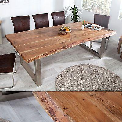 Massiver Baumstamm Tisch MAMMUT 200cm Akazie Massivholz Industrial