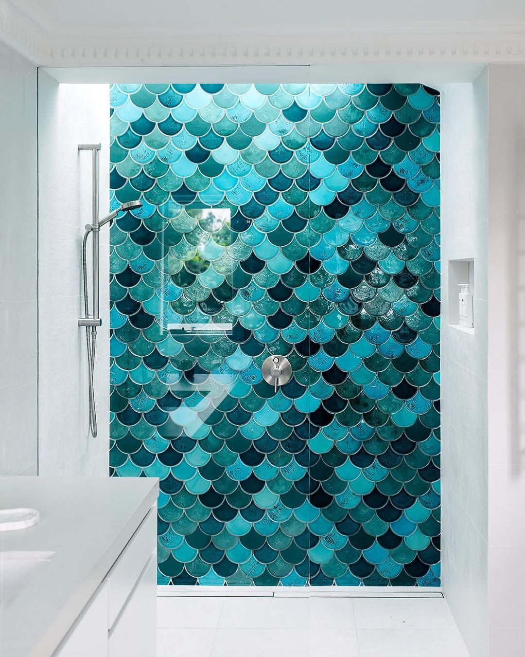 Which Way Would You Lay Mermaid Aka Fish Scale Tiles Curve Up Or Down We Ve Done It Both Ways But In H Mermaid Tile Kid Bathroom Decor Teal Bathroom