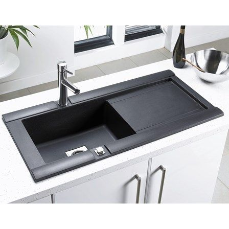 This Black Granite Sink Will Stand Out Perfectly In Any Kitchen With Any Design And Colour Scheme Kitchensinks Sink Single Bowl Sink Black Granite Sink
