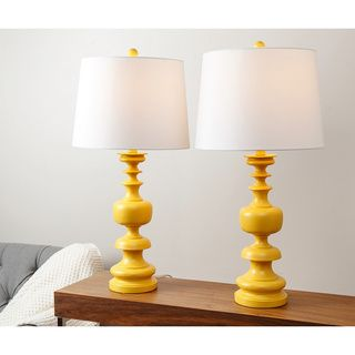 Delightful Abbyson Alexis Yellow Spiral Table Lamp (Set Of 2) By Abbyson