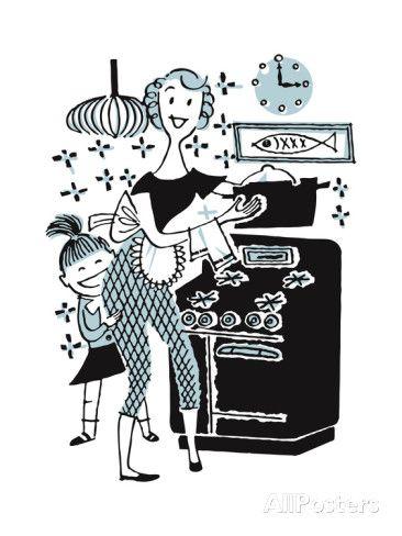 Woman Cooking with Child Behind Her Kunstdruck von Pop Ink - CSA Images bei AllPosters.de