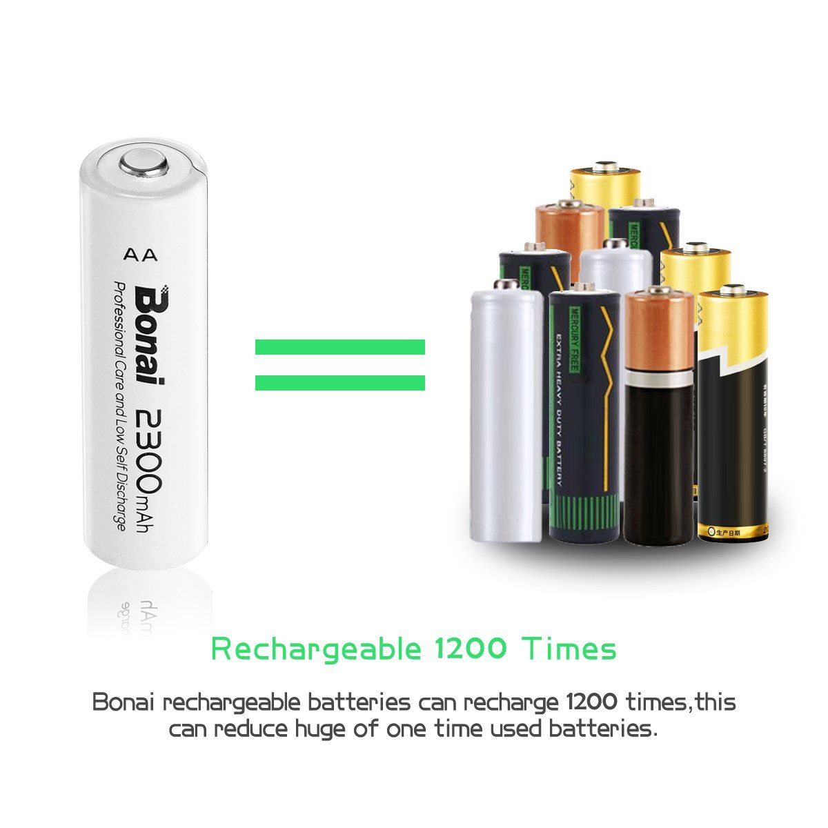 Bonai 8 Pack 2300mah 1 2v Aa Nimh High Capacity Rechargeable Batteries Ul Certificate Details Can Rechargeable Batteries Cameras And Accessories Recharge