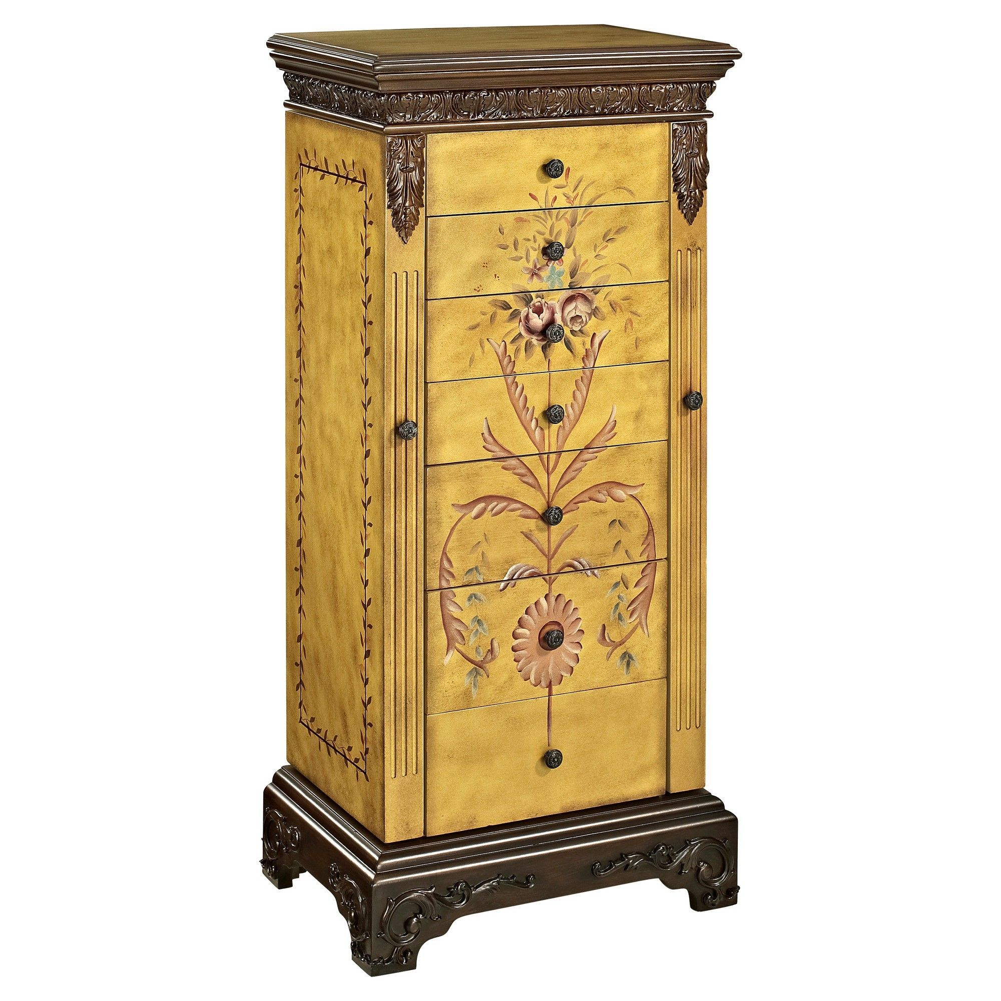 Beatrice Antique Parchment Hand Painted Jewelry Armoire Oak  # Muebles Japoneses Baratos