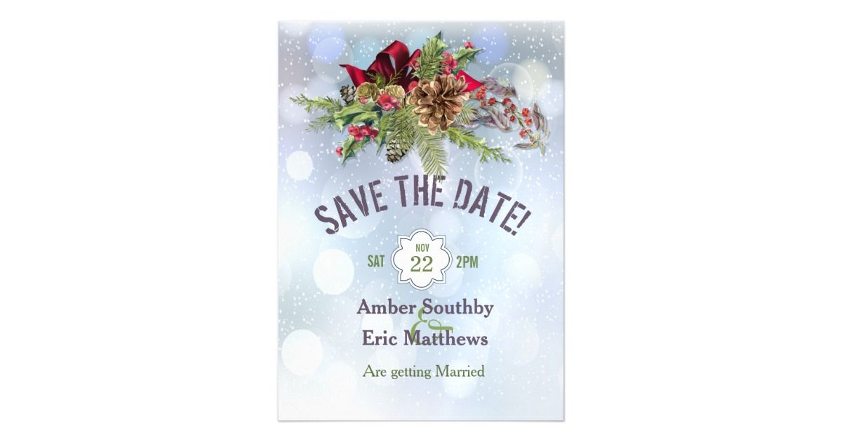 Winter Wonderland Poinsetia Magnetic Save The Date Magnetic Card