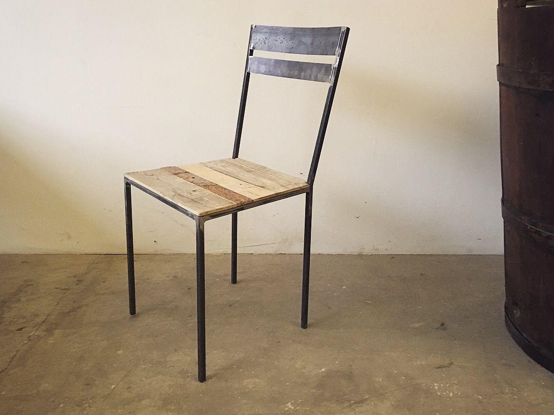 Sedie In Ferro E Legno.Sedia Balda Con Legno Di Recupero E Struttura In Ferro Chair