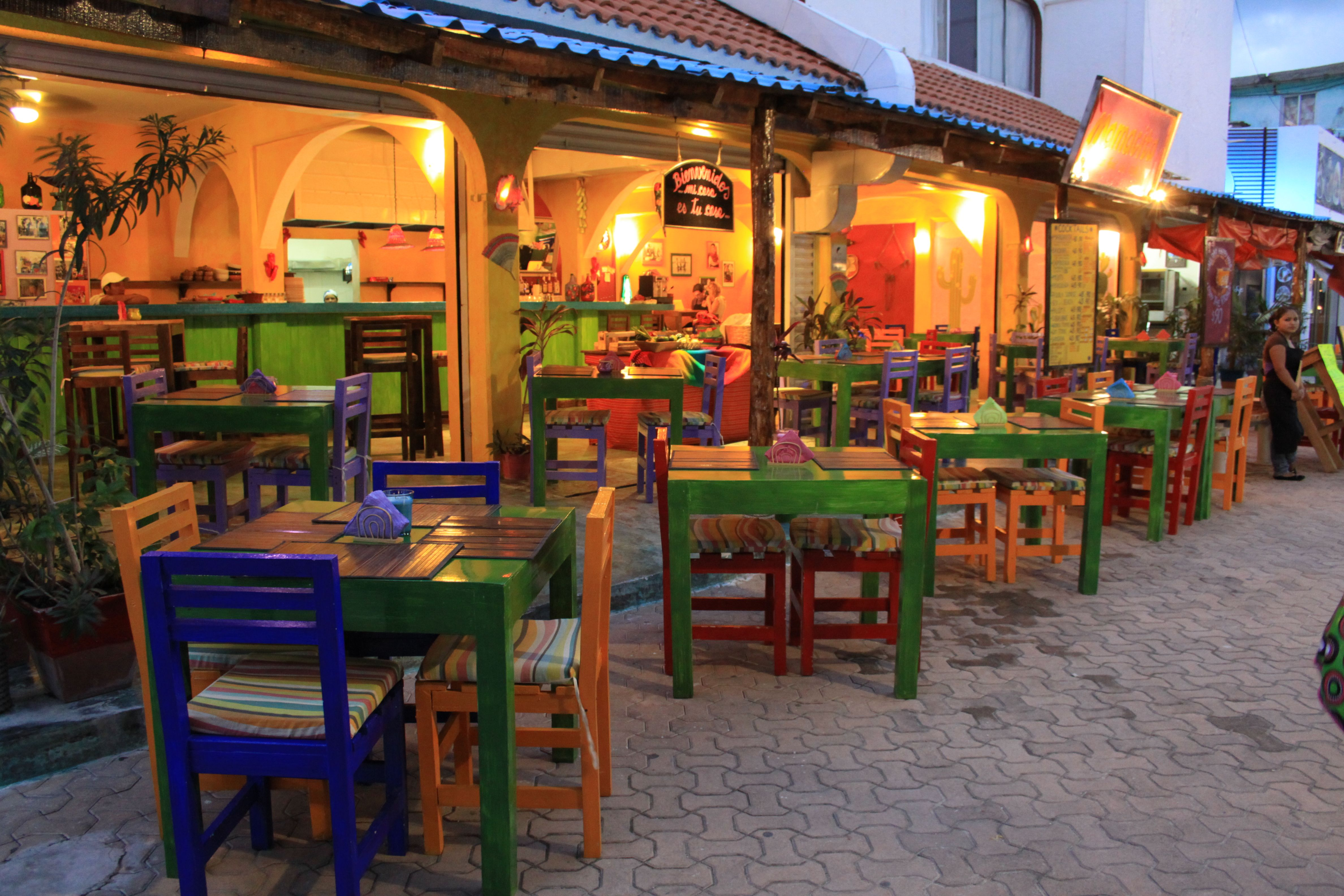 Restraunt Night Dunk Island: Isla Mujeres, Mexico Downtown. At Night, People Are Dining