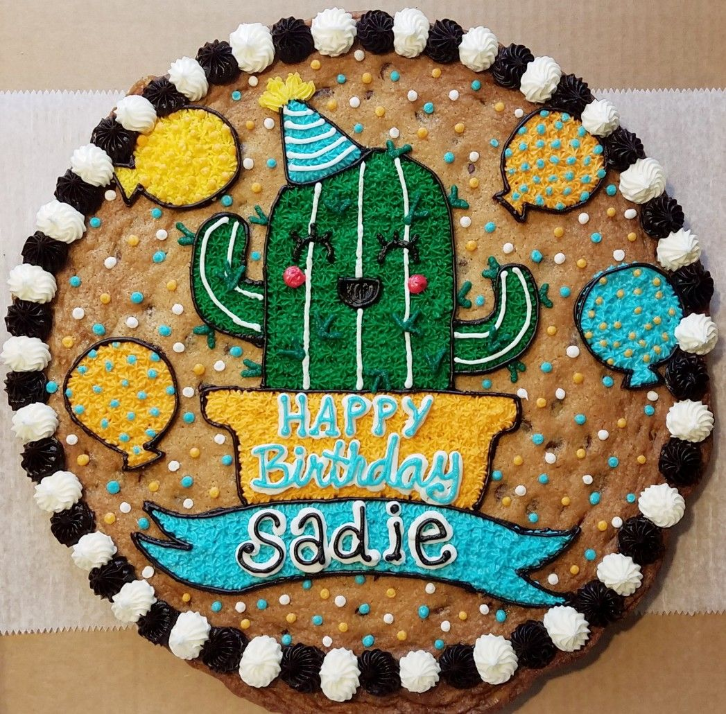 Happy Cactus Cookie Cake With Images Cookie Cake Designs