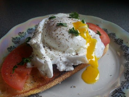 Poached egg over toast
