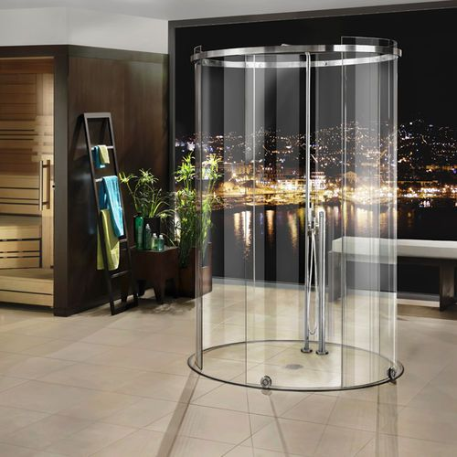 cabine de douche l 39 italienne en verre courb e avec. Black Bedroom Furniture Sets. Home Design Ideas