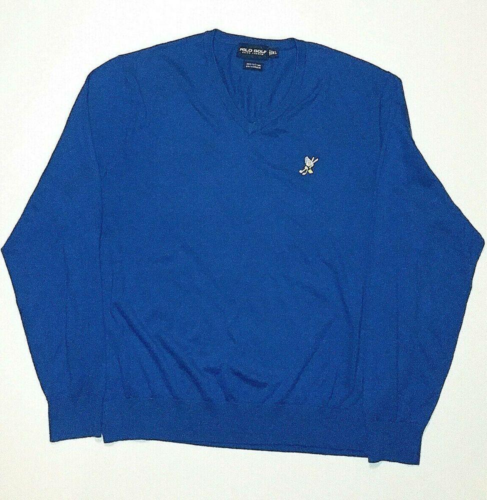 9dece662 Ralph Lauren Blue Polo Golf Mens Sweater XL Cashmere Cotton Blend ...