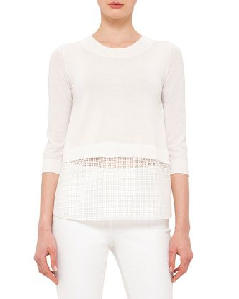3/4-Sleeve+Lace-Hem+Pullover,+Cream+by+Akris+punto+at+Neiman+Marcus.