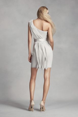 05b8870c025 Short One-Shoulder Bridesmaid Dress with Ruffles Style VW360370 ...