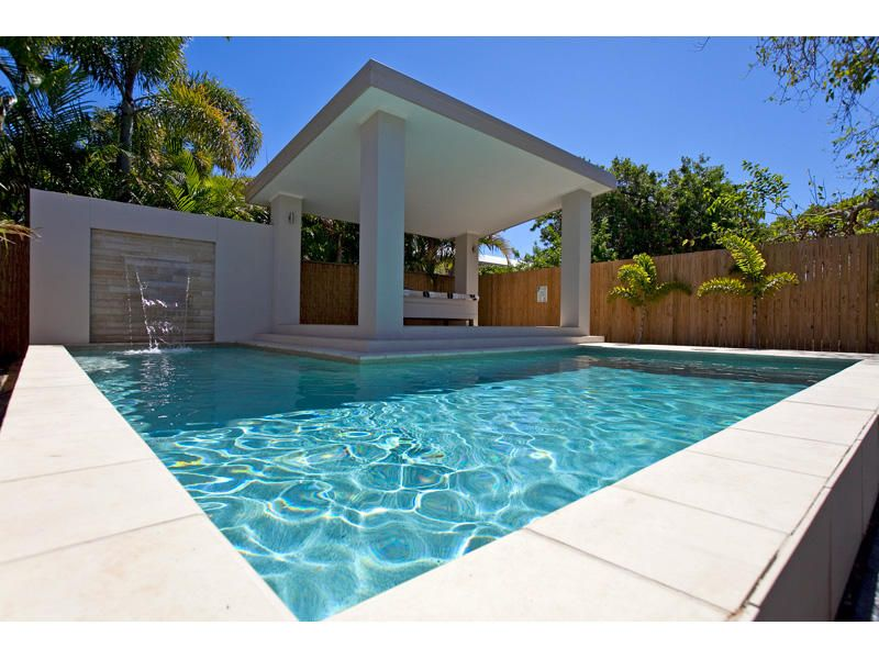 Geometric pool design using tiles with gazebo outdoor for Pool design basics
