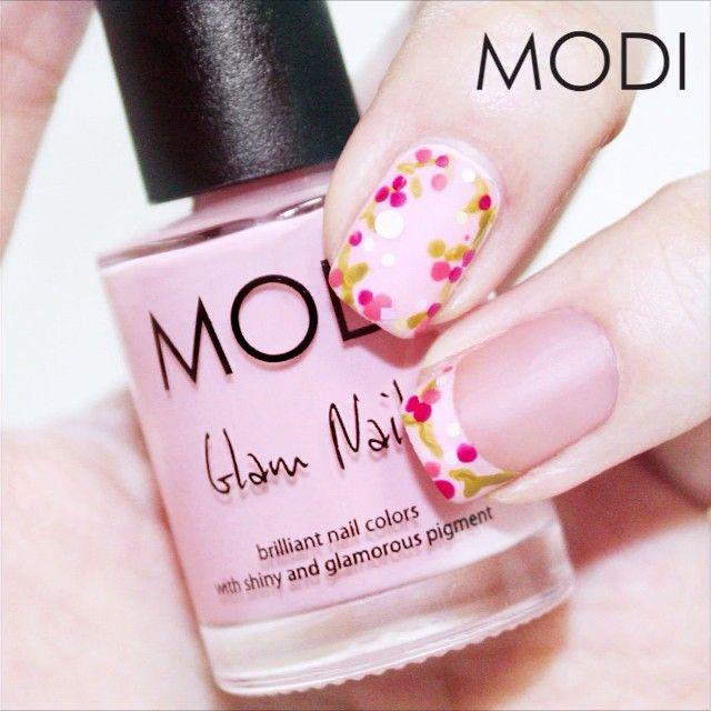 Flower nail art tutorial video #모디 #모디네일 #몯스타그램 #MODI #피치밀크 #체리시럽 #코발트핑크 #올리브그린 #핑킹가랜드 #플라워부밍 #매트탑코트