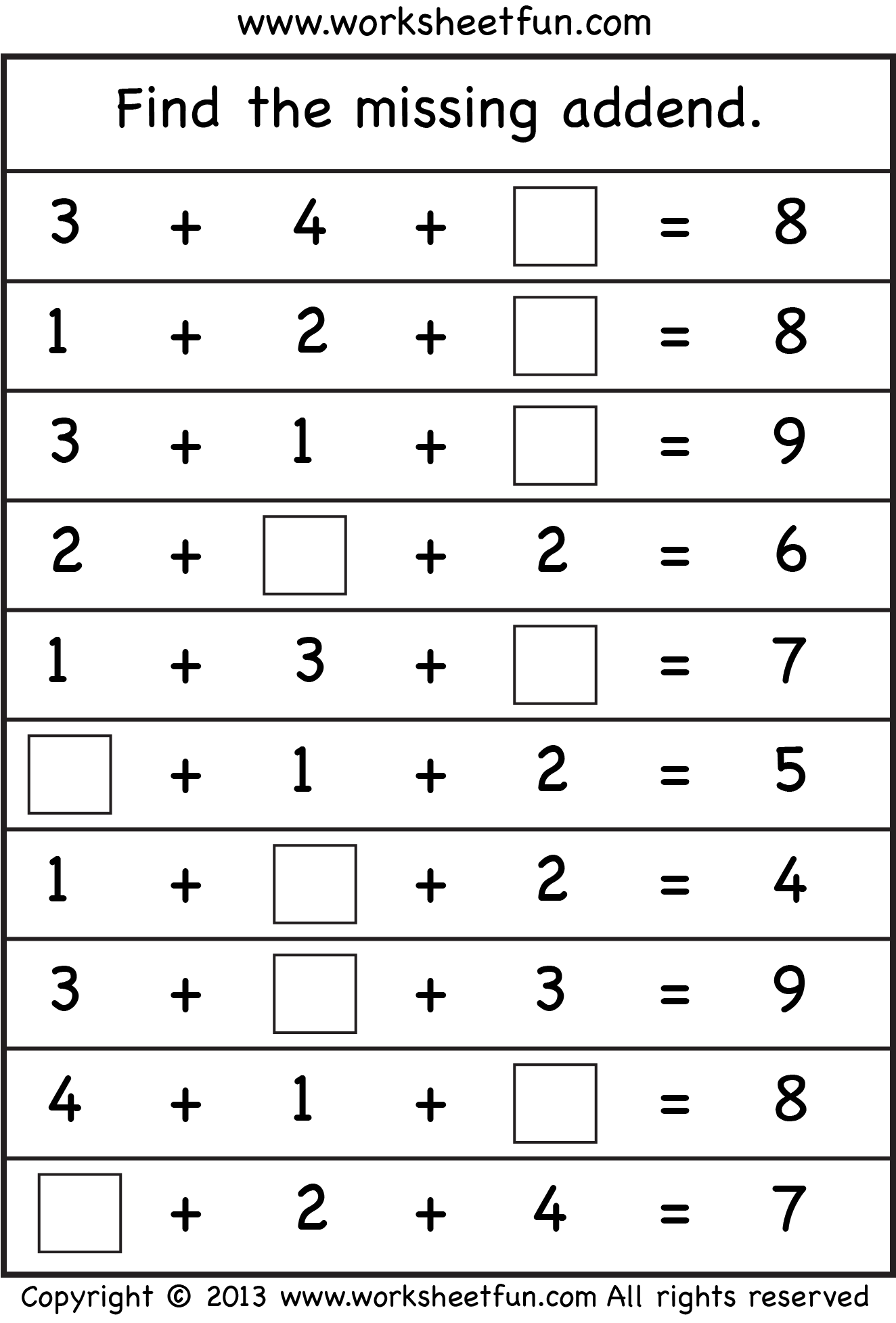 Worksheet Missing Addends First Grade 1000 images about go math ch 5 addition and subtraction relationships on pinterest sheets word problems equation